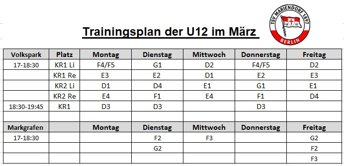 Trainingsplan U 12 Maerz 21